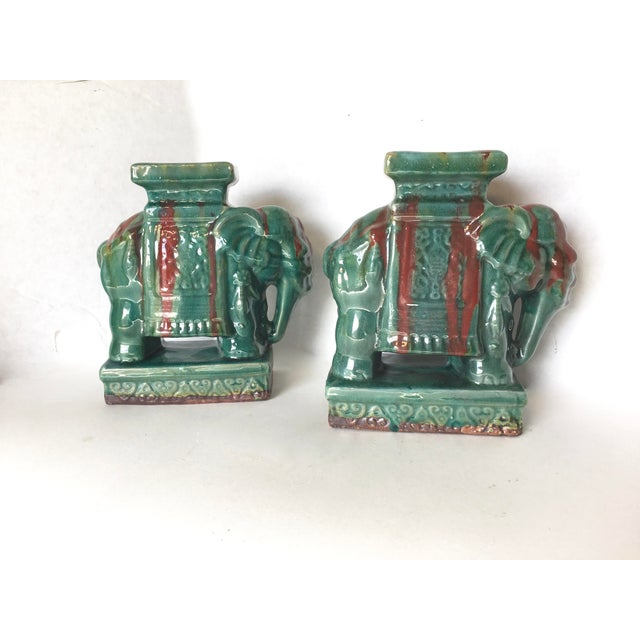 Drip Glaze Ceramic Elephant Statues - A Pair - Image 4 of 6