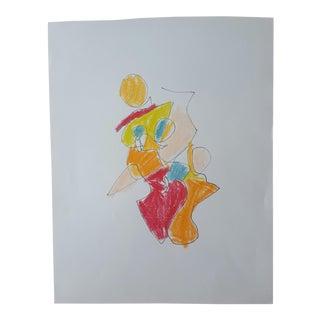 """Natasha"" Figurative Abstract Drawing For Sale"