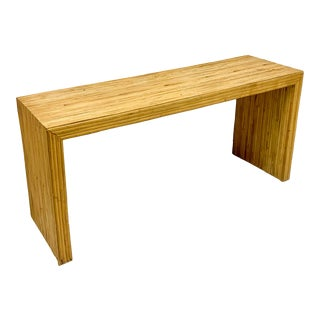 1970s Modern Crespi Style Pencil Bamboo Console Table For Sale