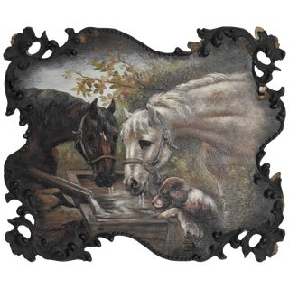 1897 Ce Rubel Horses and Dog Oil on Wood Painting For Sale