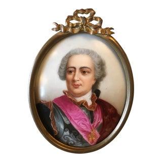 Antique Portrait on Porcelain, Framed For Sale