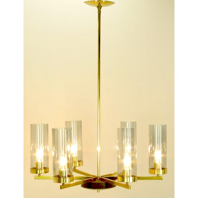 1950s Brass and Black Lacquer Six-Light Chandelier with Hurricane Shades For Sale - Image 5 of 8