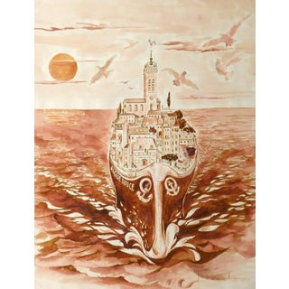 French Watercolor - Village Insolito For Sale