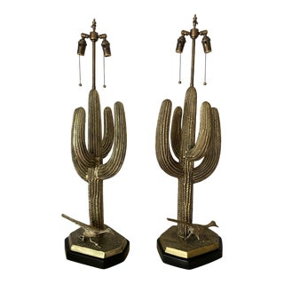 1970s Brass Saguaro Cactus Lamps - a Pair For Sale