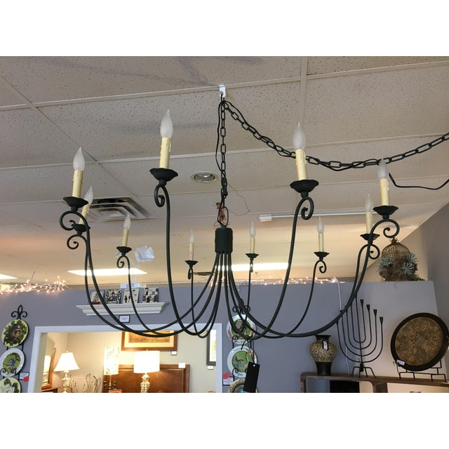 Transitional Wrought Iron 10 Candle Chandelier - Image 2 of 6