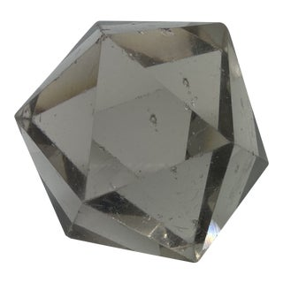 Vintage Faceted Smoked Glass Paper Weight For Sale