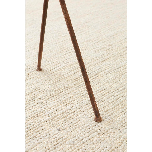 Midcentury Glass Table With Iron X Form Sawhorse Legs For Sale - Image 12 of 13