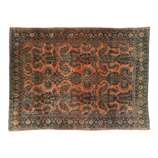 Antique Persian Kashan Rug - 08'05 X 11'05 For Sale