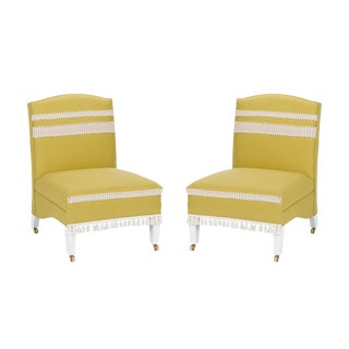 Casa Cosima Sintra Chair in Citron Linen, a Pair For Sale
