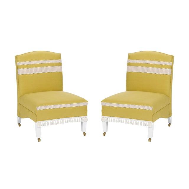 Casa Cosima Sintra Chair in Citron Linen, a Pair For Sale