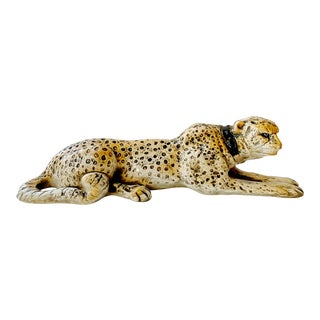 1970 Glazed Ceramic Lying Cheetah Sculpture For Sale
