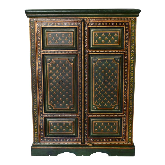 Vintage Indian Painted Wooden Cabinet For Sale