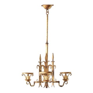 Mid 20th Century Tall Gold Chandelier With Fleur De Lis For Sale