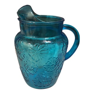 Mid-Century Blue Floral Glass Pitcher
