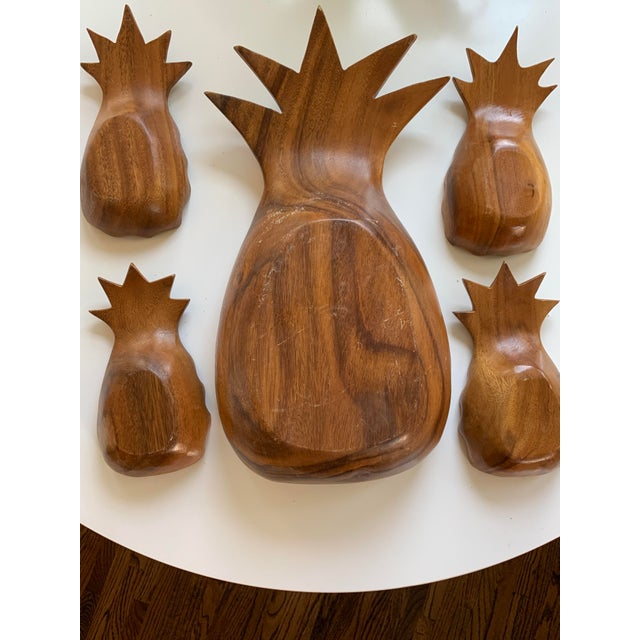 Mid-Century Modern Monkey Pod Pineapple Serving Dish and Bowls For Sale - Image 4 of 8
