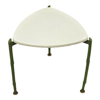 Faux Bamboo Chinese Chippendale Green Tripod Aluminum Guitar Pick Side Table For Sale