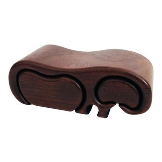 Mid Century Modernist Wood Hippo Box For Sale