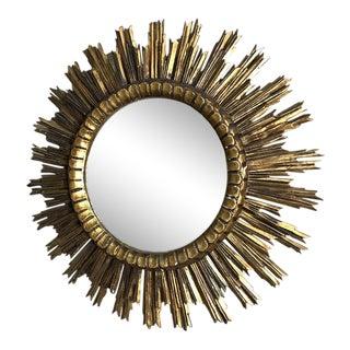 Vintage Mid-Century Italian Sunburst Hand-Carved Wood Gilded Mirror For Sale