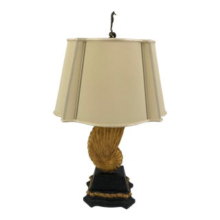 Chelsea House Black & Gold Shell Table Lamp With Seahorse Finial For Sale
