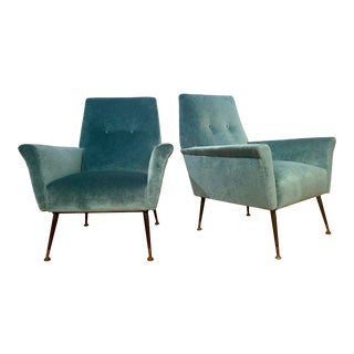 1950s Mid Century Modern Italian Lounge Chairs - a Pair For Sale