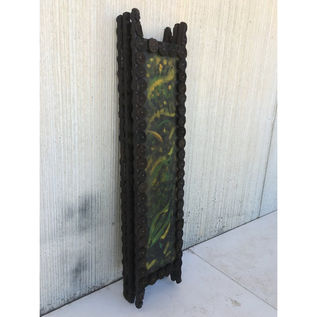 20th Century Arts & Crafts Folding Screen & Hand Painted Decoration Room Divider For Sale In Miami - Image 6 of 13