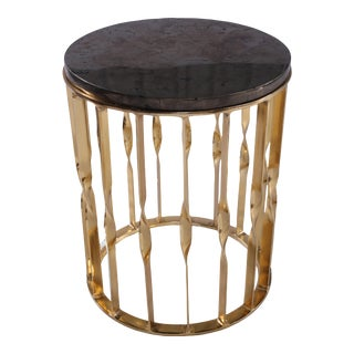 Pyrite Golden Side Table For Sale