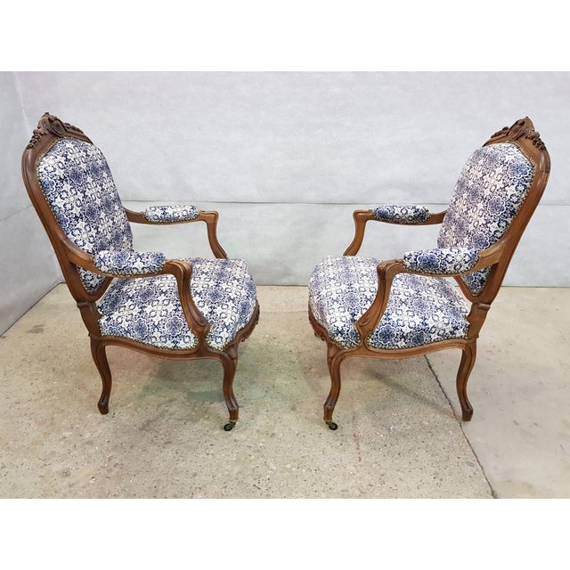 1920s Gorgeous Pair of French Newly Upholstered Carved Walnut Louis XV Caster Wheel Armchairs For Sale - Image 5 of 13