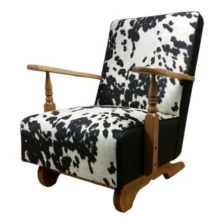 Vintage Mid Century Black and White Cowprint and Black Vinyl Platform Rocker For Sale