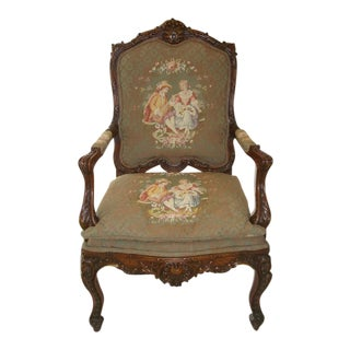 French / Provincial Heavily Carved Walnut Large Arm Chair For Sale