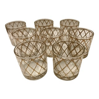 Mid 20th Century Gold Embossed High Ball Glasses - Set of 8 For Sale