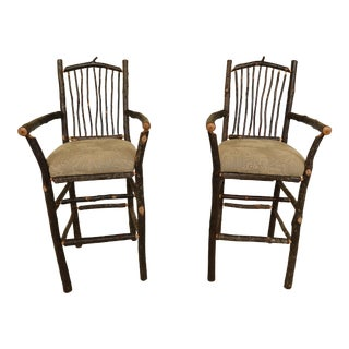 Pair Flat Rock Furniture Adirondack Style High Counter Bar Chairs For Sale