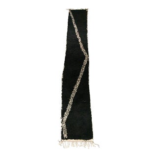 Black and Ivory Shag Moroccan Runner For Sale