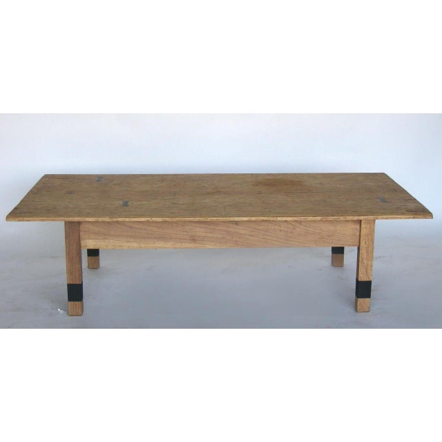 Striped Wood Coffee Table with Drawer with Butterfly Joinery For Sale In Los Angeles - Image 6 of 10