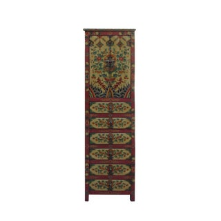 Chinese Tibetan Flower Graphic Tall Slim Multi Drawers Cabinet For Sale