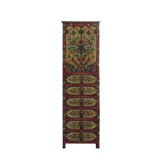 Chinese Tibetan Flower Graphic Tall Slim Multi Drawers Cabinet