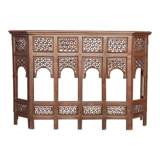 Moorish Lattice Arched Hand-Carved Console Table For Sale