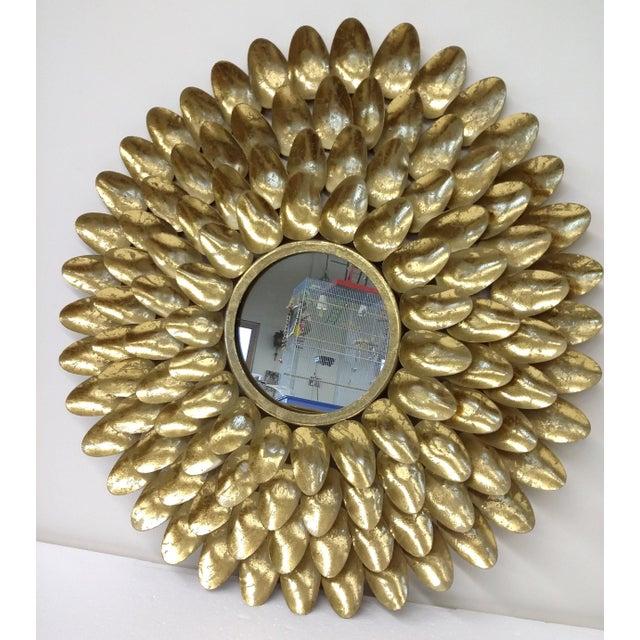Gold Metal Sunburst-Style Mirror - Image 7 of 9