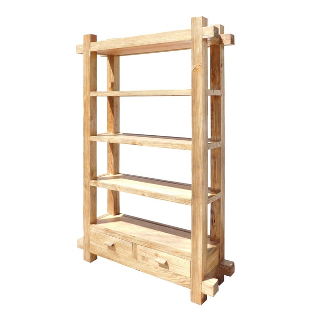 Chinese Rustic Raw Wood Open Shelf Bookcase For Sale - Image 3 of 4