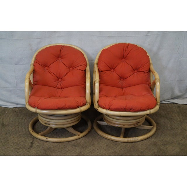 Clark Casual Bamboo Swivel Lounge Chairs - Pair - Image 2 of 10