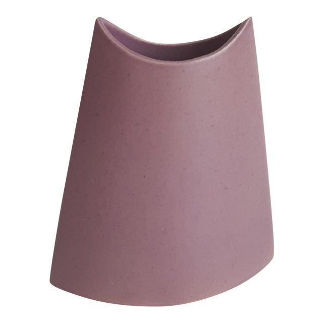 J. Johnston Modernist Mauve Pink Ceramic Pottery Vase For Sale