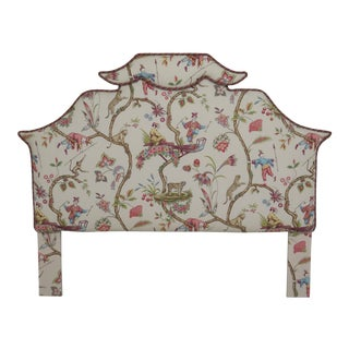 1990s Chinoiserie Print Upholstered Queen Size Headboard For Sale