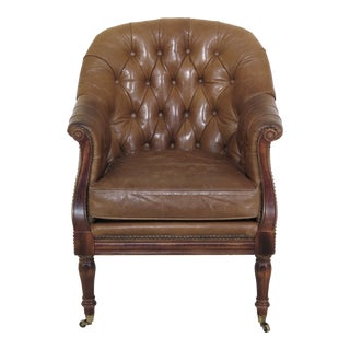 1990s Vintage Wesley Hall Tufted Tan Leather Chesterfield Style Club Chair For Sale