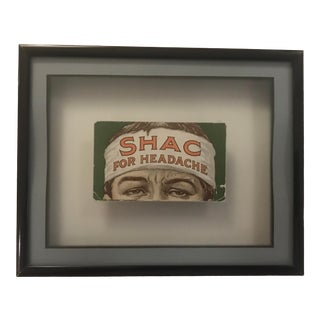 Framed Antique Shac for Headache Advertising Card For Sale