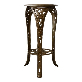 Art Nouveau Style Cast Metal Flower Vines Detail Plant Stand Vintage Mid Century For Sale