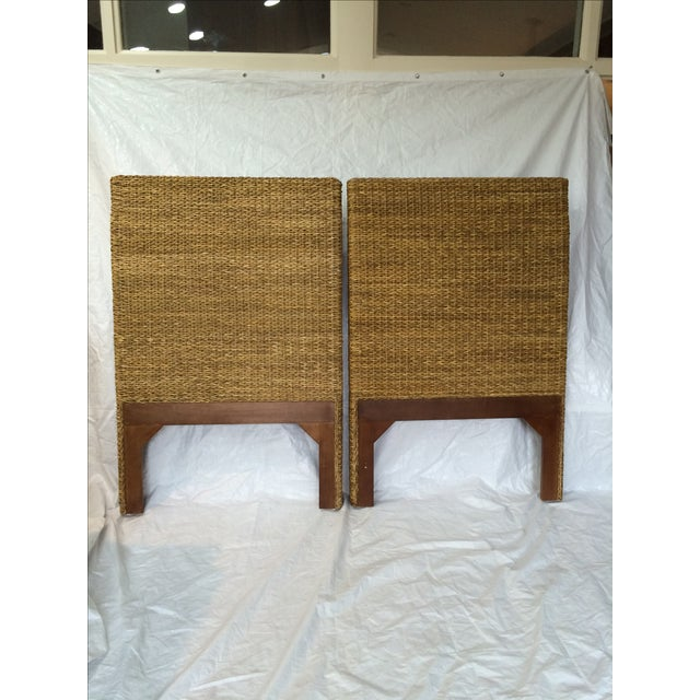 Woven Rattan and Teak Headboards - Pair - Image 5 of 9