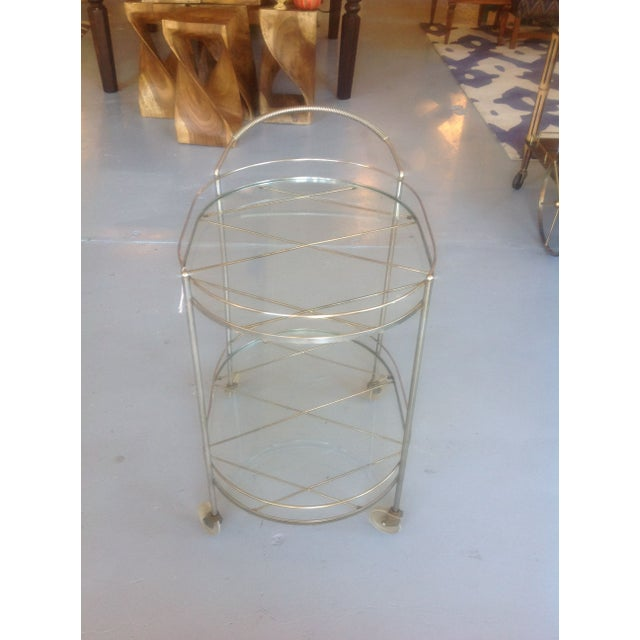 Mid-Century Modern Mid-Century Silver Toned Bar Cart For Sale - Image 3 of 5