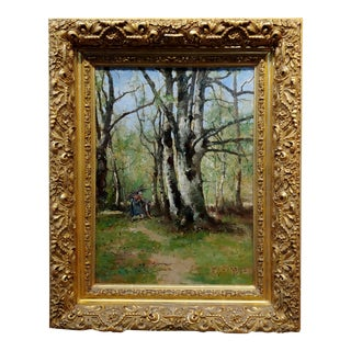 Max Weyl - Women in Forest Collecting Wood -19th Century Oil Painting For Sale