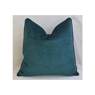 Aqua Marine Green/Turquoise Velvet Feather & Down Pillows - a Pair Preview