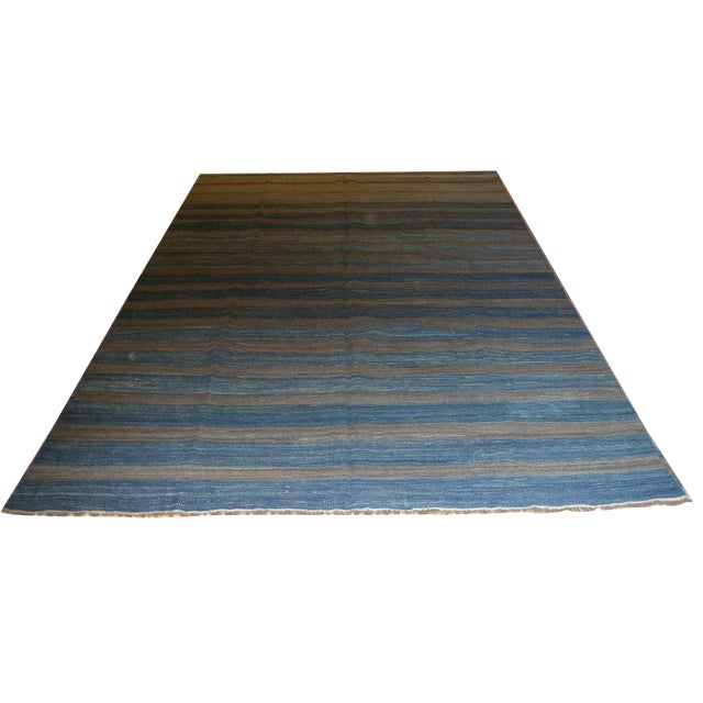 Blue Striped Kilim Rug - 6′1″ × 9′11″ For Sale