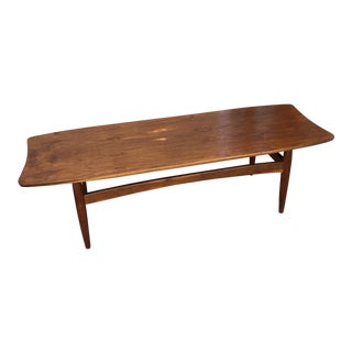 20th Century Danish Modern Teak and Oak Surfboard Coffee Table